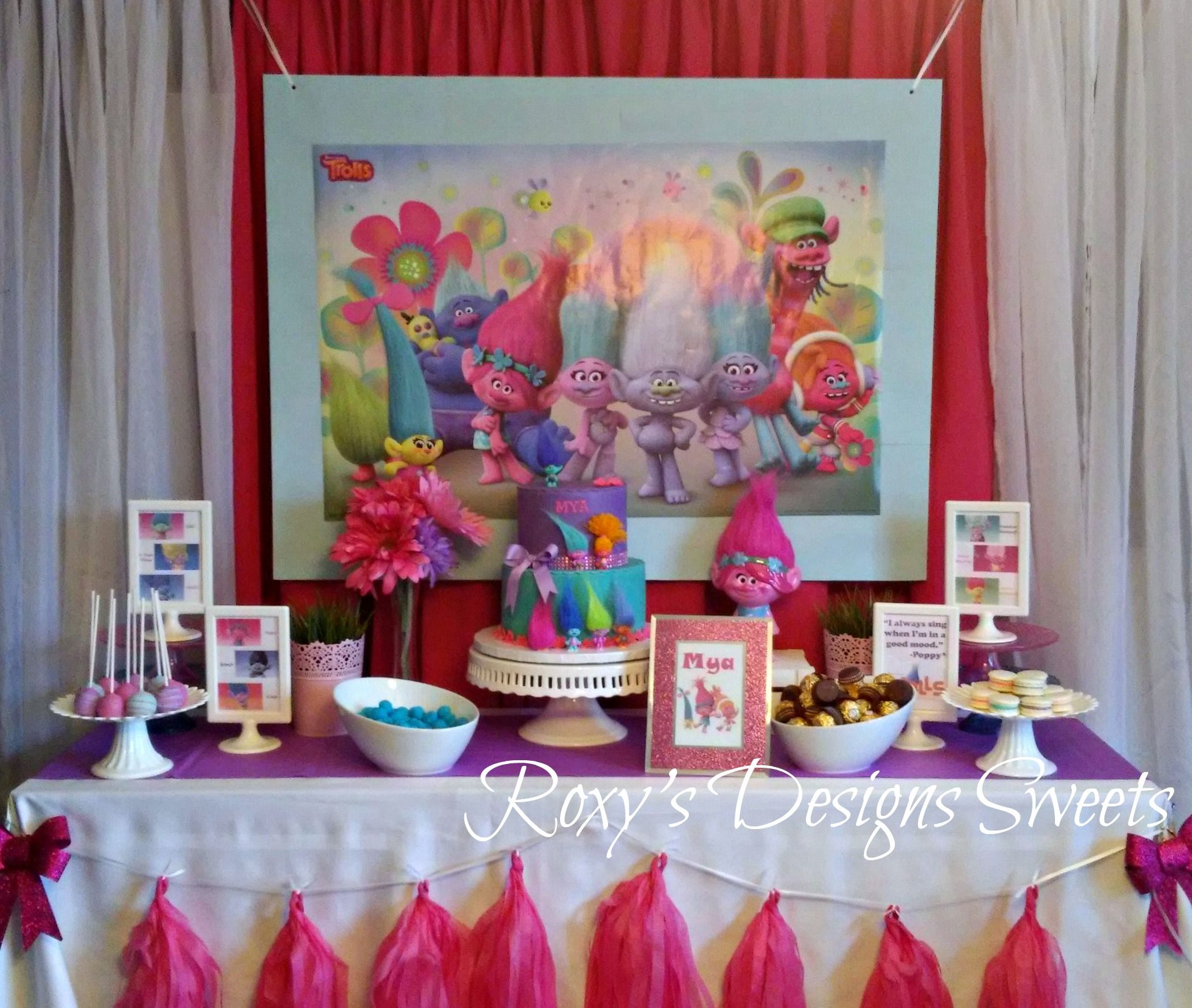 Trolls Poppy Sweet Table Cake