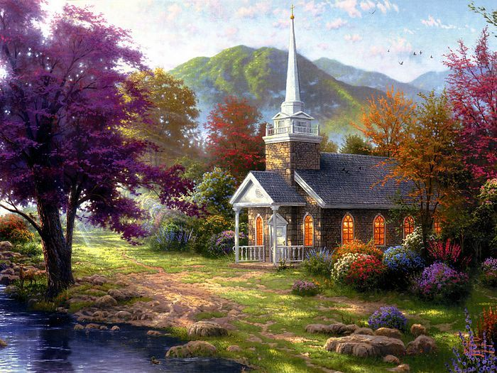 Painter Of Light : Thomas Kinkade Heartwarming Paintings 、Thomas Kinkade  Paintings : Along The Lighted Path