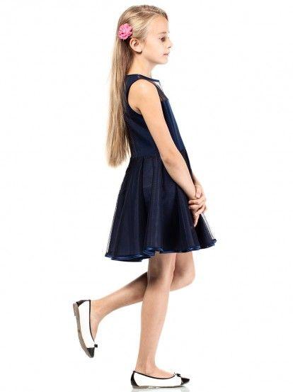 21af0dd4e792 Dětské elegantní šaty bez rukávu KIDIN - tmavě modrá