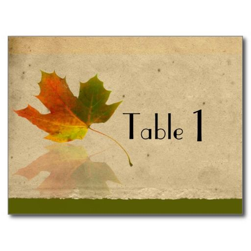 Fall Maple Leaf on Faux Paper Wedding Table Number Postcard