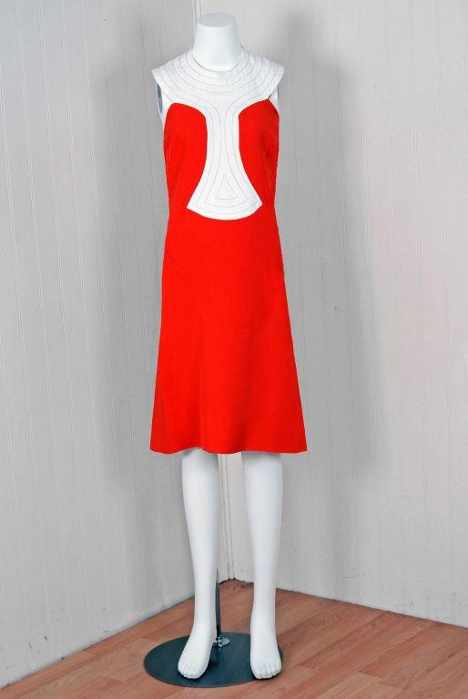 1960 S Pierre Cardin Space Age Couture Orange Block Color Linen Mod