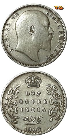 N T 1907 British India Silver One Rupee King Edward Vii Numismatic Coins Ancient Coins Antique Coins
