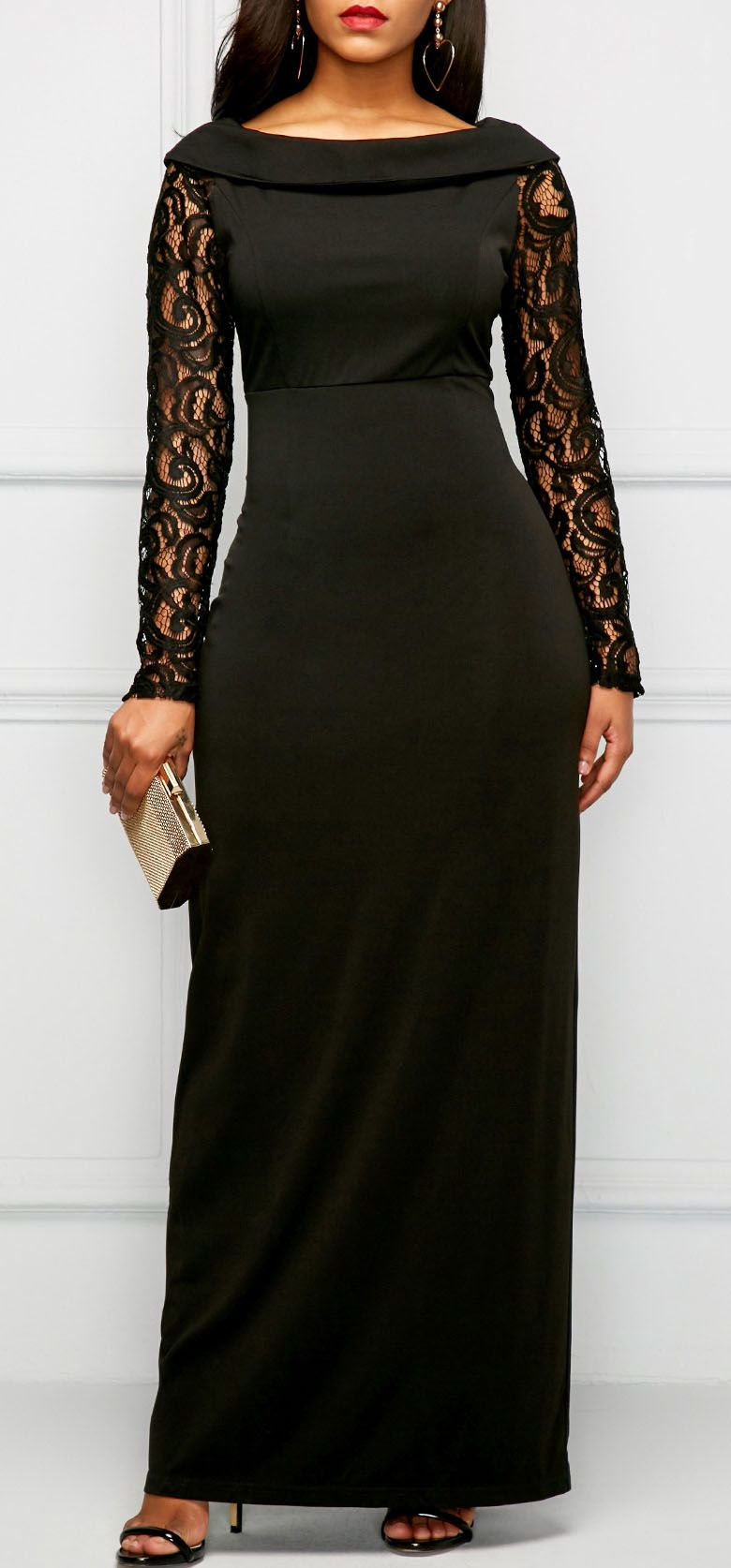 Lace panel black back slit maxi dress fatou diallo pinterest