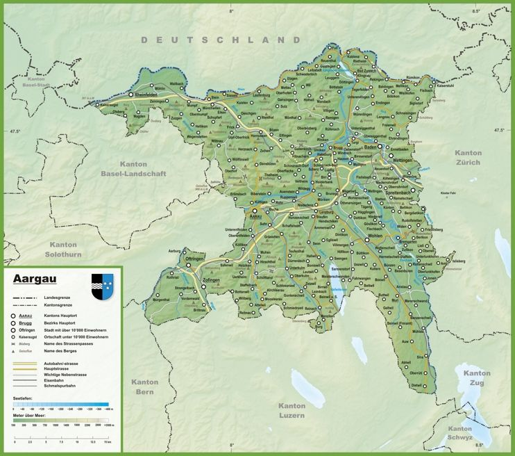 Canton of Aargau map with cities and towns | Swiss Cantons ...