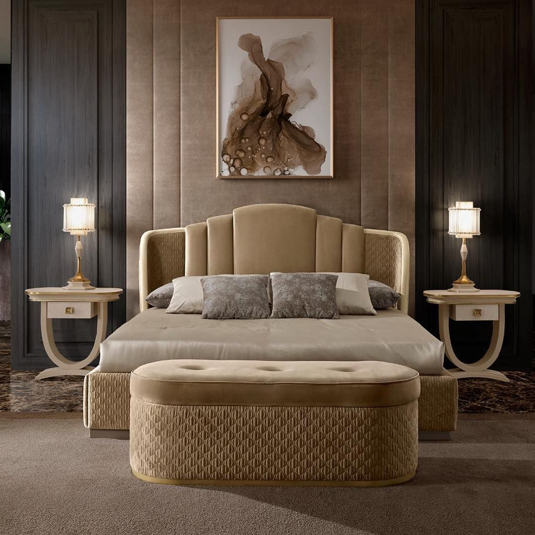 Luxury Furniture Lighting Artliving Tlv A Double Bed Without A Footboard Made In Art Deco St Luxury Bedroom Furniture Luxurious Bedrooms Elegant Bedroom Luxury double bed room
