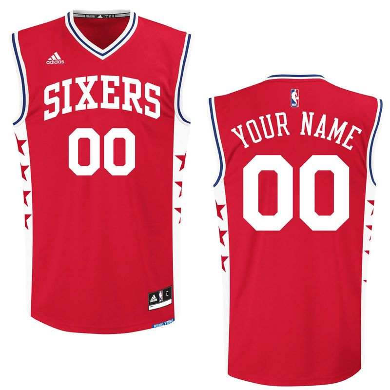 Men's Philadelphia 76ers adidas Red Custom Replica Alternate Jersey
