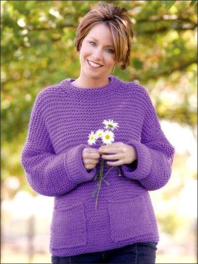 Knitting Wearables Long Sleeved Sweaters Purple Pop Over