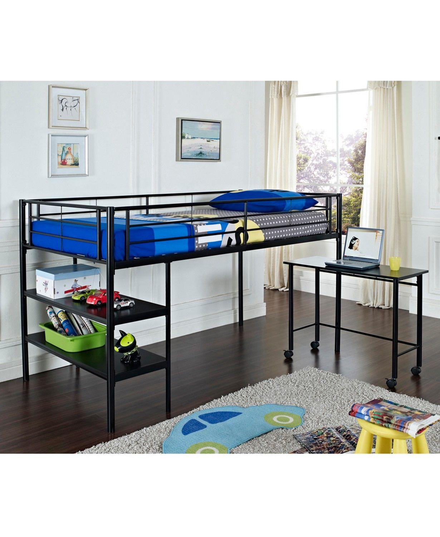 Walker Edison Premium Metal Twin Low Loft Bed with Desk