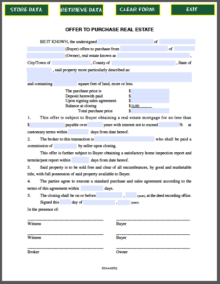 Real Estate Purchase Offer Form Template Pinterest – Agreement to Purchase Real Estate Form Free