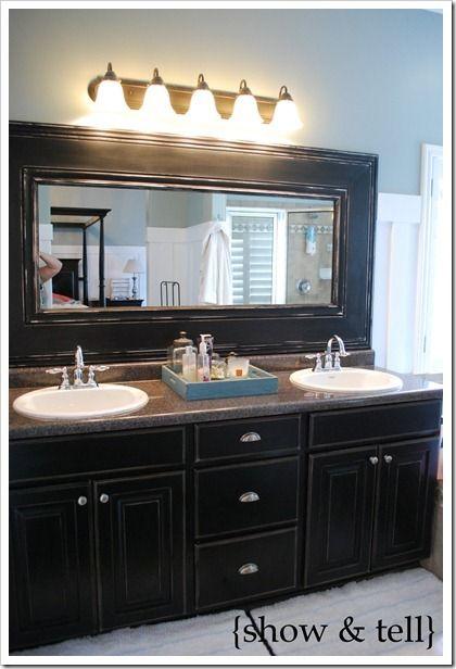 How To Frame Those Boring Bathroom Mirrors Bathroom mirrors