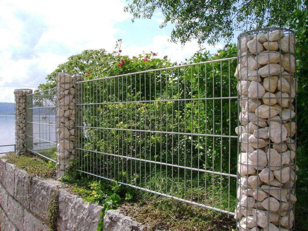 Gabionensäulen für Zäune Zaun Pinterest