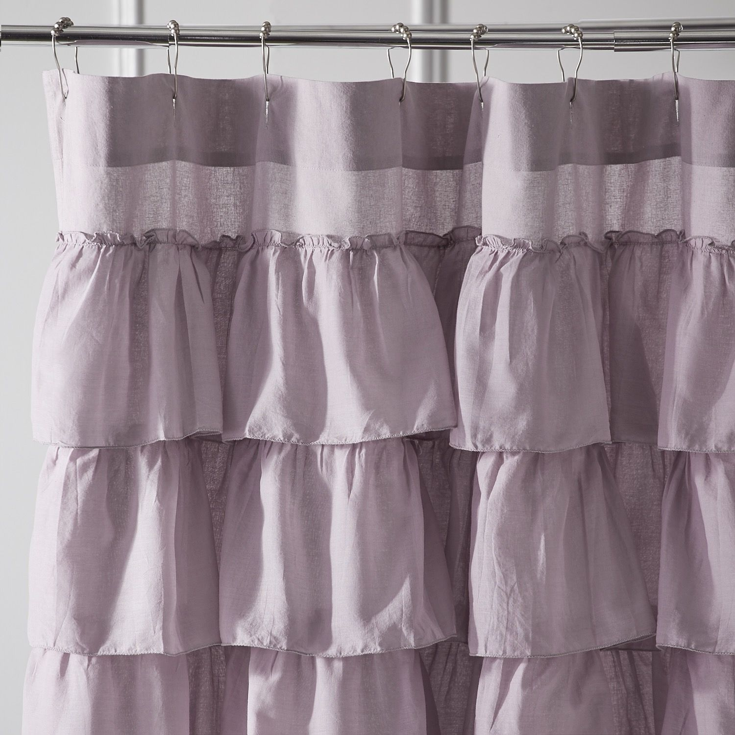 Ruffled Lilac Shower Curtain Purple
