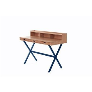 Desk Hyppolite color blue marine - Design Florence Watine for brand Harto : Study/office by La Corbeille Éditions