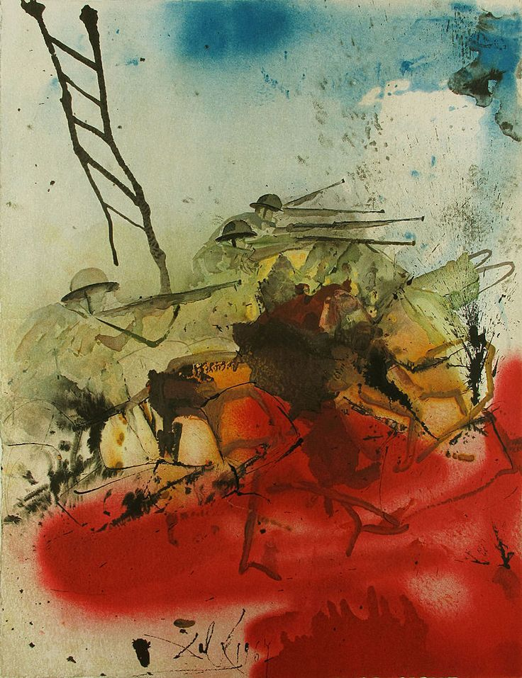 salvador dali, the battle of the jerusalem hills, lithograph on