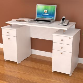 Inval Laricina White Modern Straight Computer Writing Desk With Locking  File Drawer By Inval America LLC
