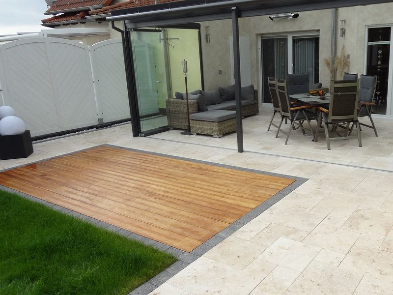 travertinplatten medium select getrommelt travertin pinterest terrasse garten und. Black Bedroom Furniture Sets. Home Design Ideas