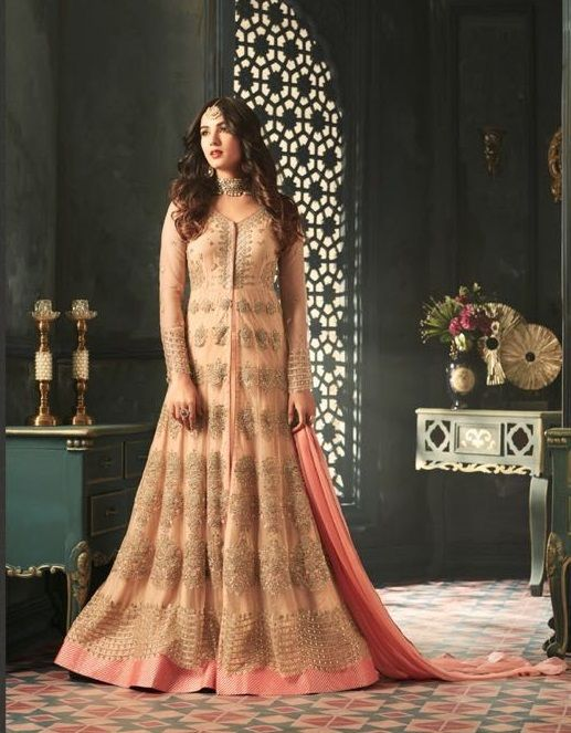 golden #partywear #gowns   embroidered top   golden gown   party ...