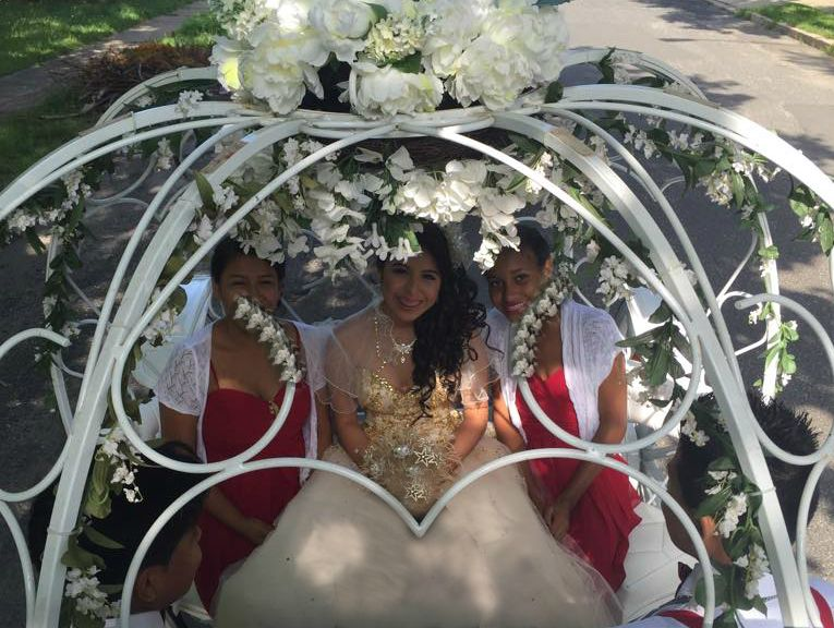 La Quinceanera and her court arrives in our Cinderella Carriage at St Anthony Claret Church in Lakewood, NJ