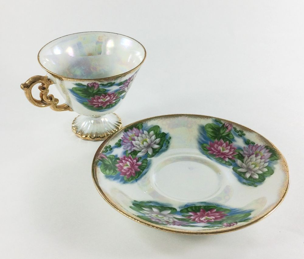 Ucagco japan flower of the month july water lily tea cup and saucer ucagco japan flower of the month july water lily tea cup and saucer set izmirmasajfo