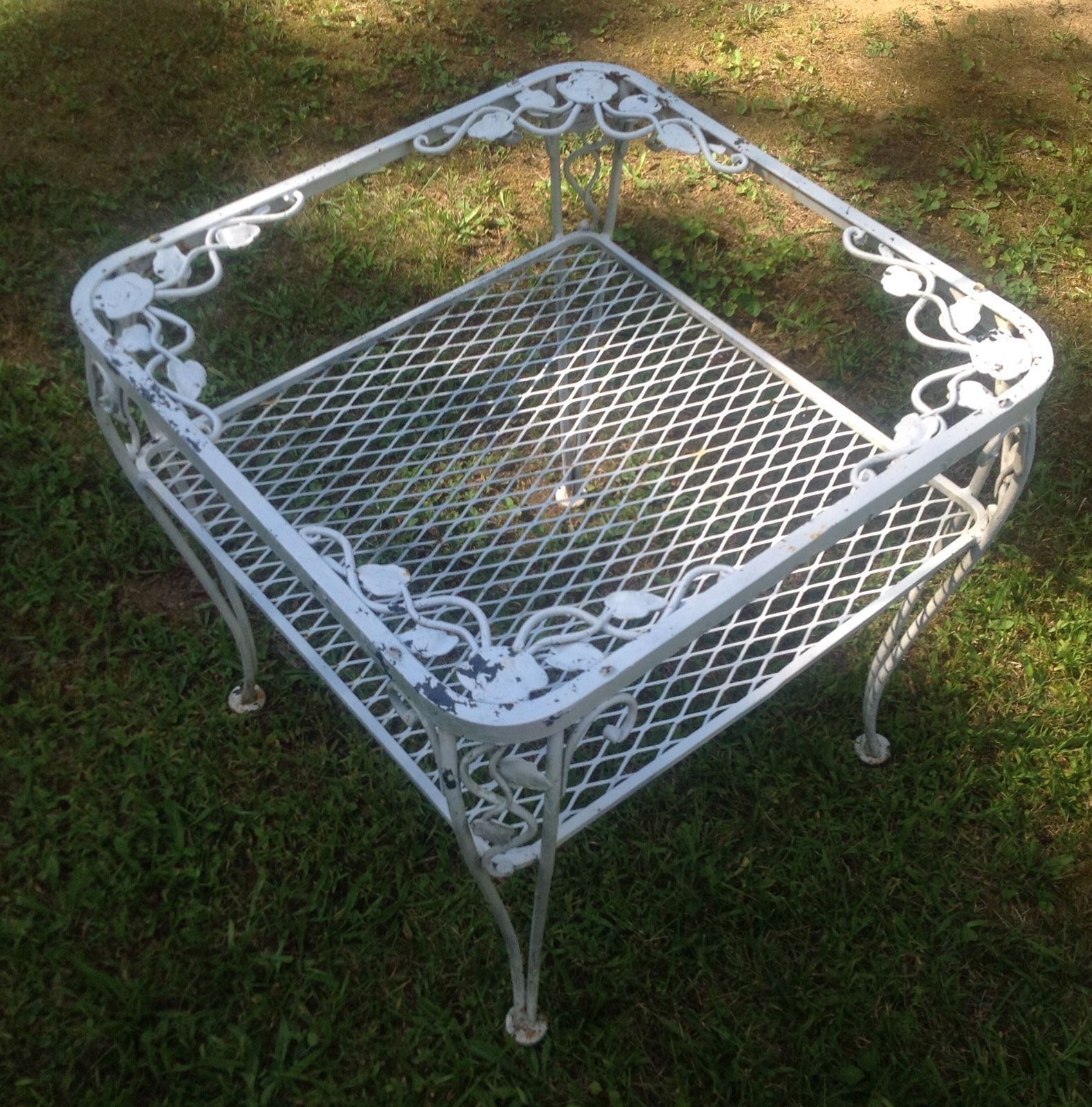 wrought iron outdoor glass top patio table ornate floral vine vintage no glassu2026