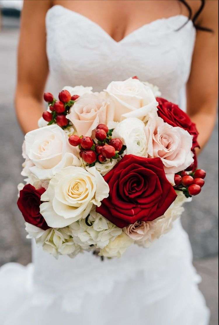 Bridal Bouquet Cranberry White Flowers Gold Champagne Cranberry