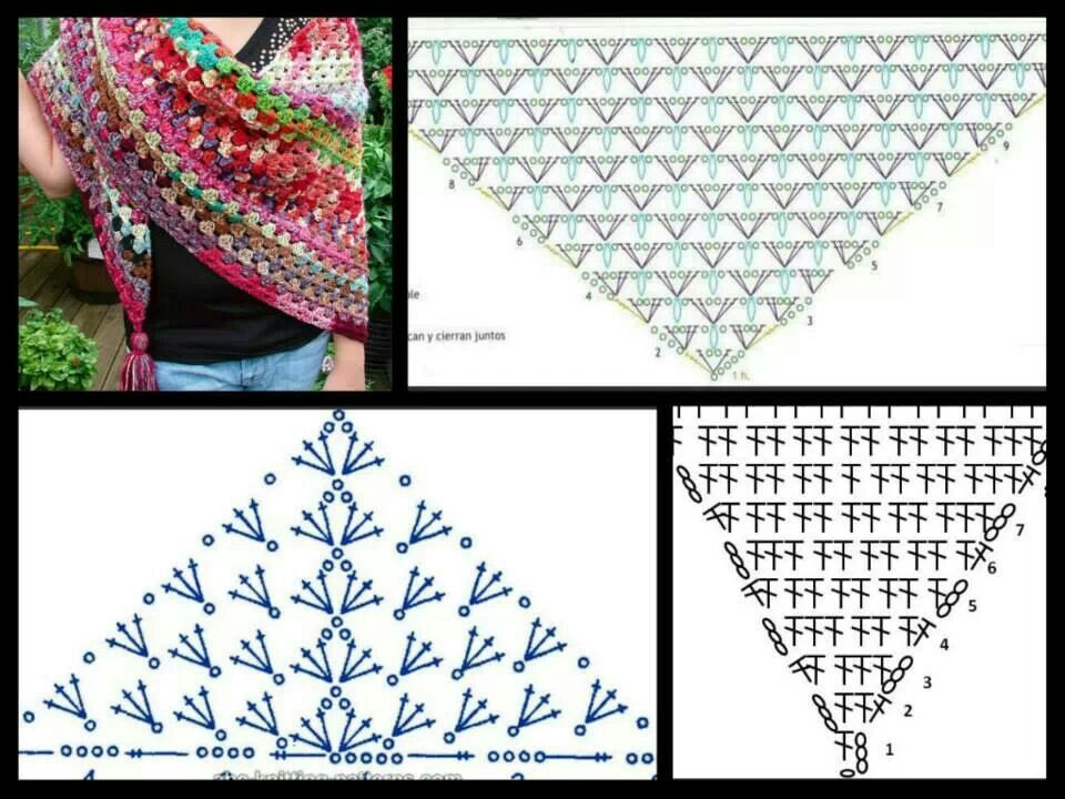 Shawl diagrams | Crochet Para el cole | Pinterest | Chal, Sencillo y ...