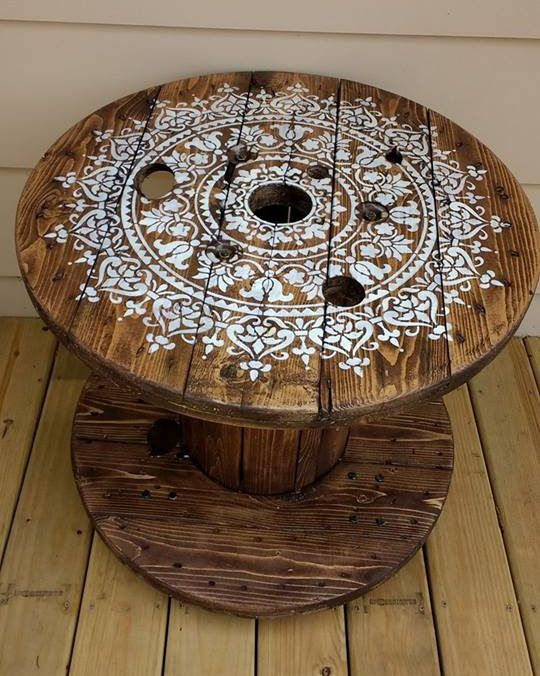 Stencil A Rustic Side Table Cable Spool Tables Diy Cable Spool Table Cable Spool