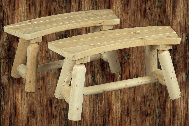 Rustic Natural Cedar Curved Log Bench - Pair
