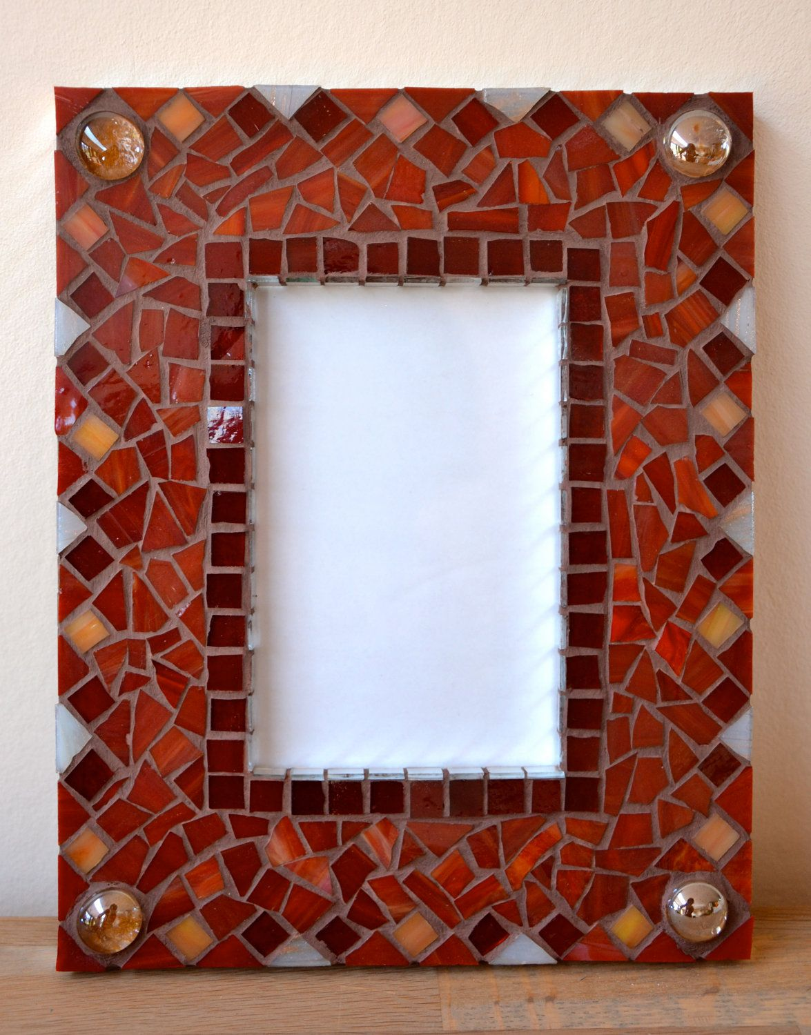 Red Glass Mosaic Picture Frame By Mimosaico On Etsy 20 00