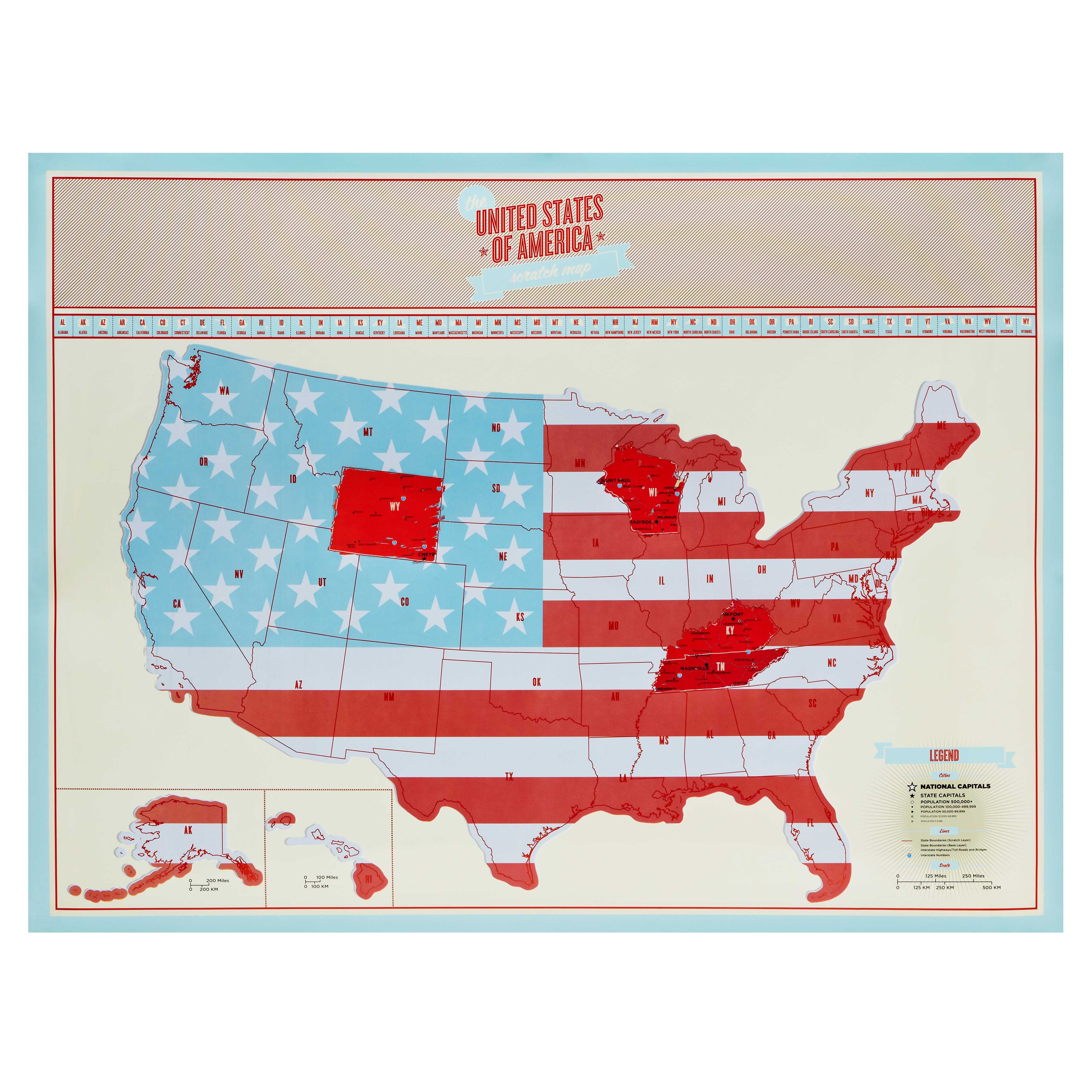 USA Scratch Map Cross Country Bright Colours And Country - Us scratch off map