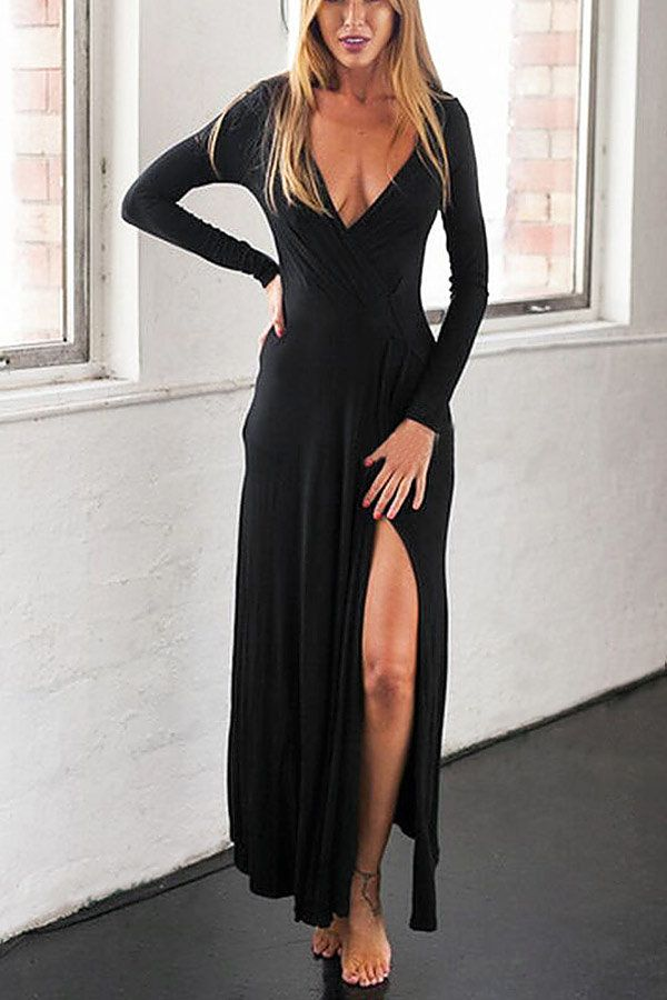 12++ Black long sleeve plunge maxi dress trends