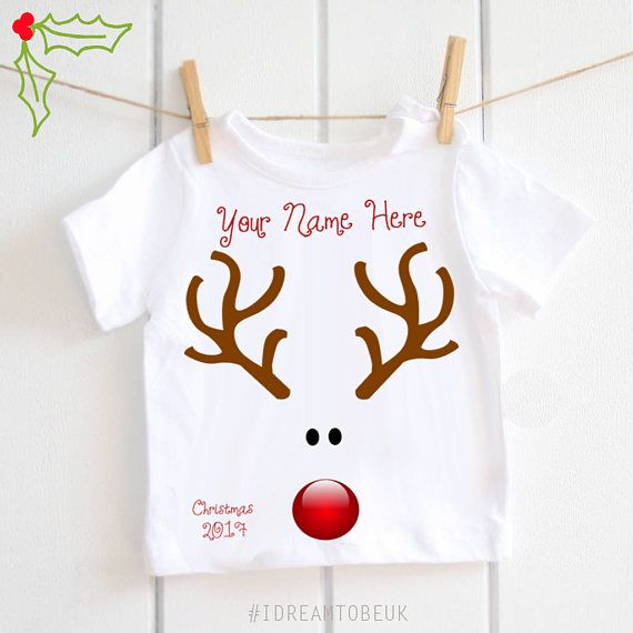 434eb7652 Childrens personalised Christmas tshirt baby Tshirt Toddler