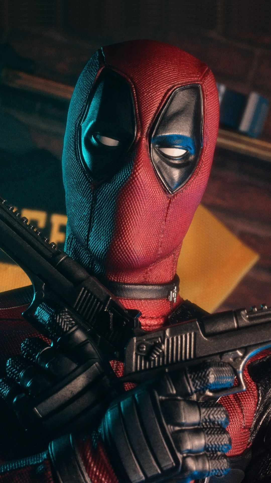 Mighty Deadpool With Guns Superhero 1080x1920 Wallpaper