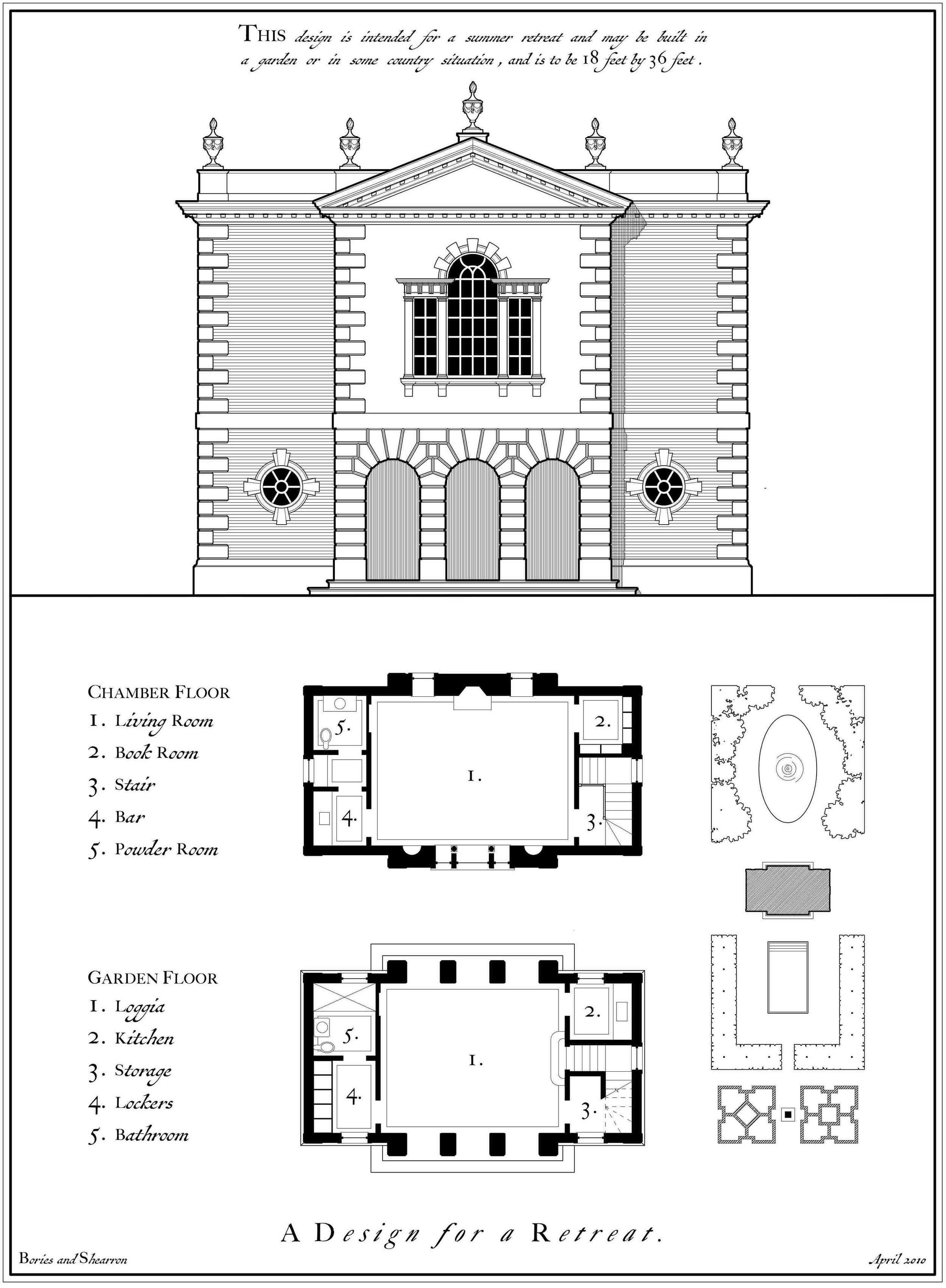 2 Georgian Folly Plan Elev Web Jpg Vintage House Plans Stone House Plans Bungalow House Plans