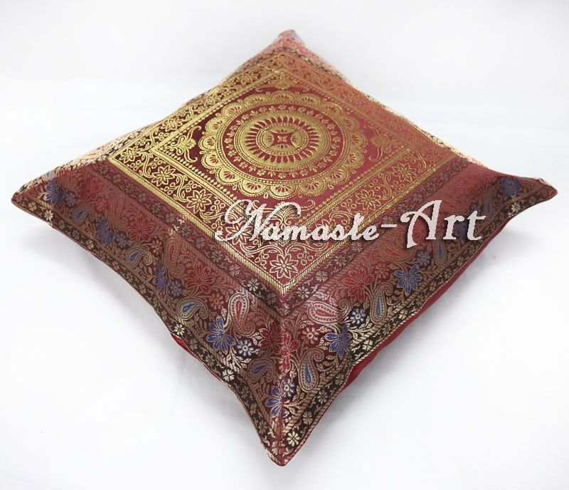 48'' Indian Silk Decorative Home Decor Ethnic Cushion Cover Brocade Stunning Brocade Home Decor Decoration
