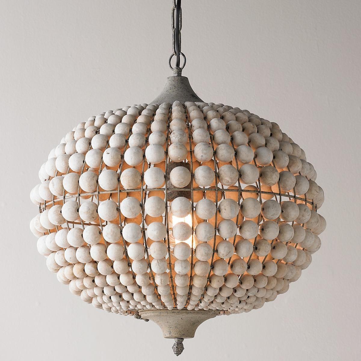 Bohemian Wood Bead Pendant Light Beaded Light Fixture Pendant Light Wooden Pendant Lighting