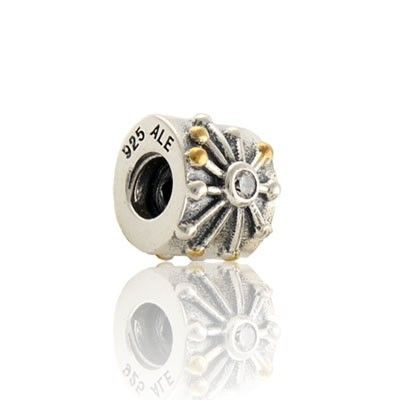 Sterling Silber 925er Perle Gold /&Clear CZ Liebe Charms im European Bead Stil