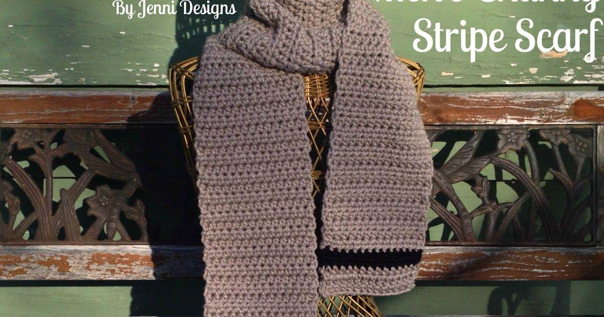 Free Crochet Pattern Mens Chunky Stripe Scarf Crochet Scarfs