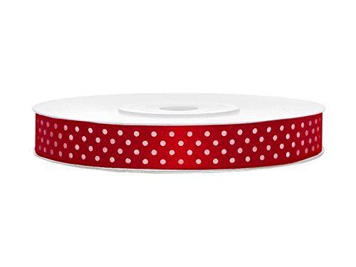 SiDeSo® SATINBAND rot mit weissen Punkten 25m x 12mm 0,09…