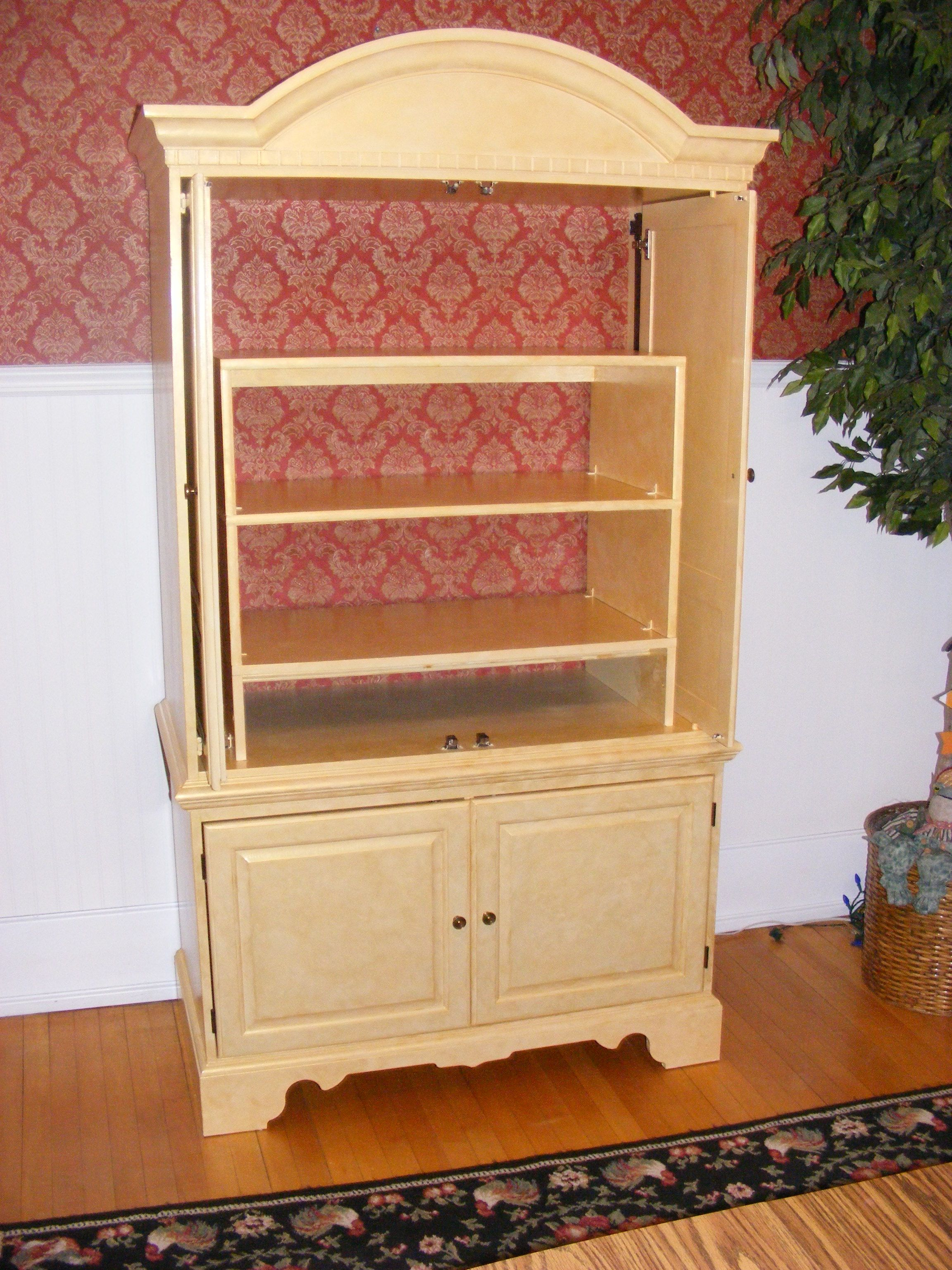 changed out the tv armoire for a dining room hutch. Primed/painted ...
