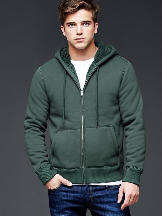 Men GAP Sherpa lined Zip Warm Hoodie Campus Green Cotton XS S M L ...