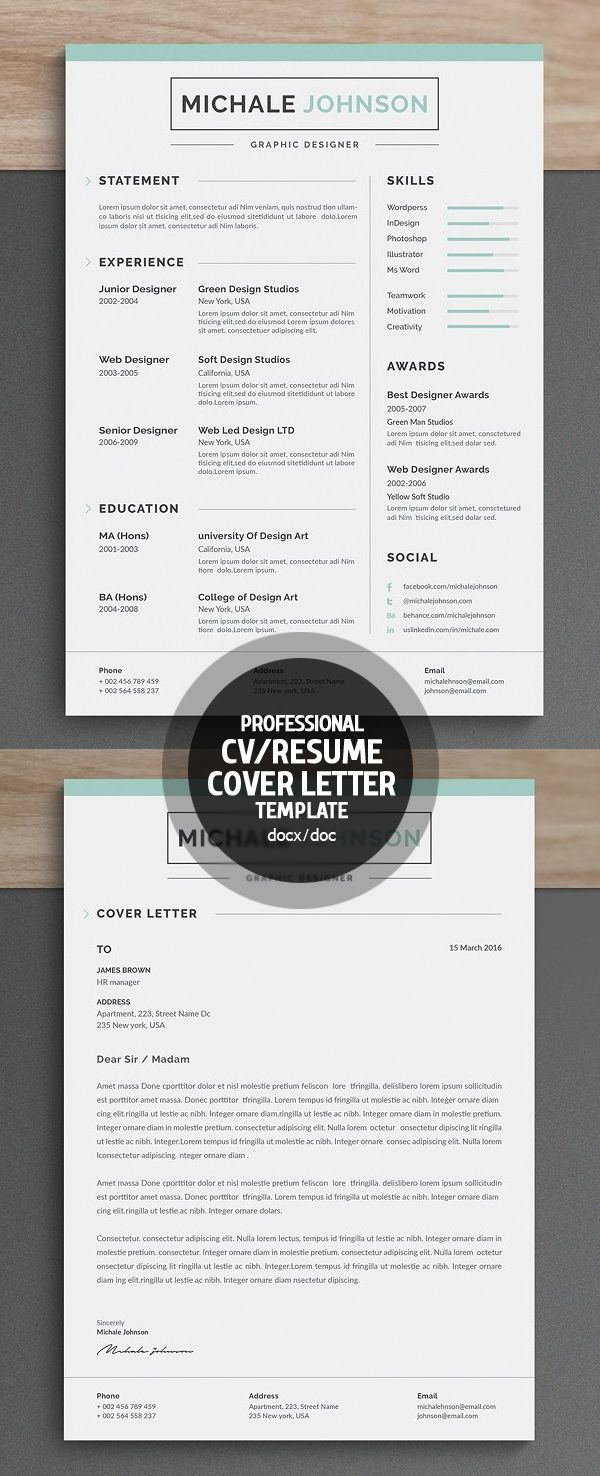 Professional & Clean Resume/CV Word Template | College | Pinterest