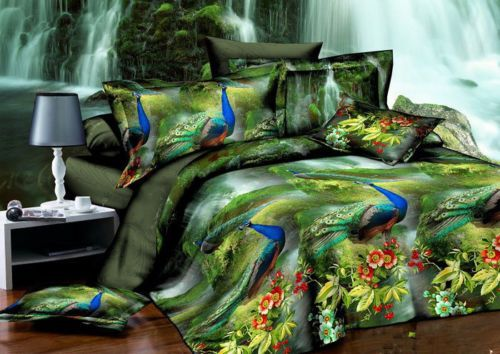 2013 Activated Peacock 3D Printing Thicker Brushed Sheets 4pc Set Bedding CT2