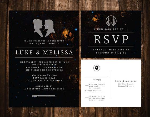 Star Wars Wedding Invitation Wedding Invitation Template Galaxy Wedding Invite Printable Luke Skywalker Princess Leia Jedi Star Wars Wedding Printable Wedding Invitations Galaxy Wedding