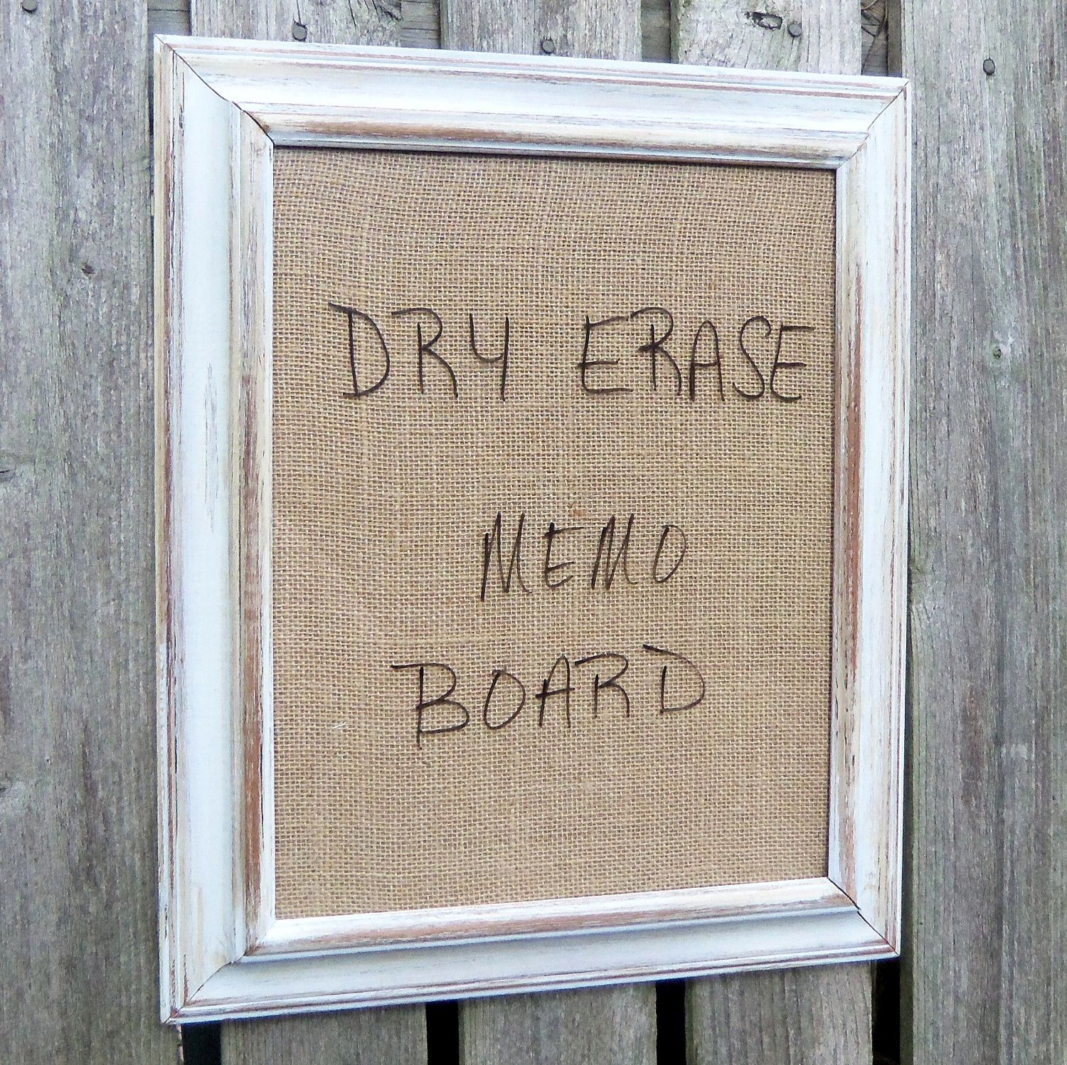 Framed Dry Erase Board Message Burlap Distressed White