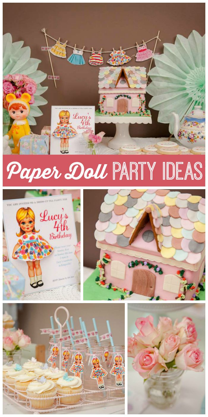 Vintage Retro Birthday Lucys Vintage Paper Doll 4th Birthday