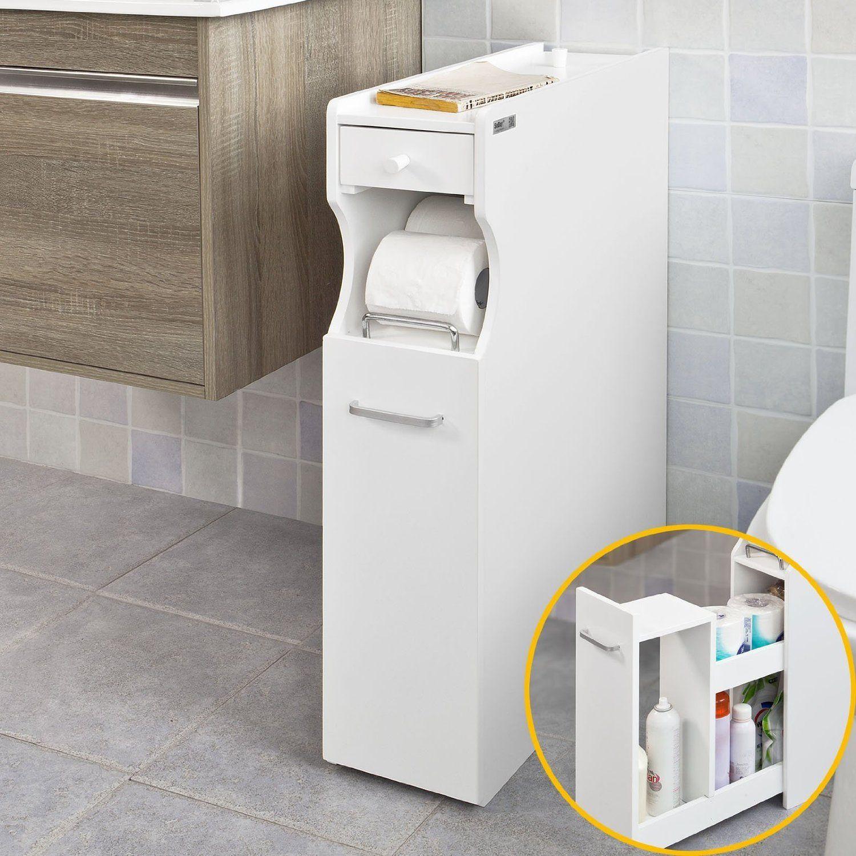 50GBP SoBuy® FRG50-W, White Bathroom Cabinet, Toilet Paper