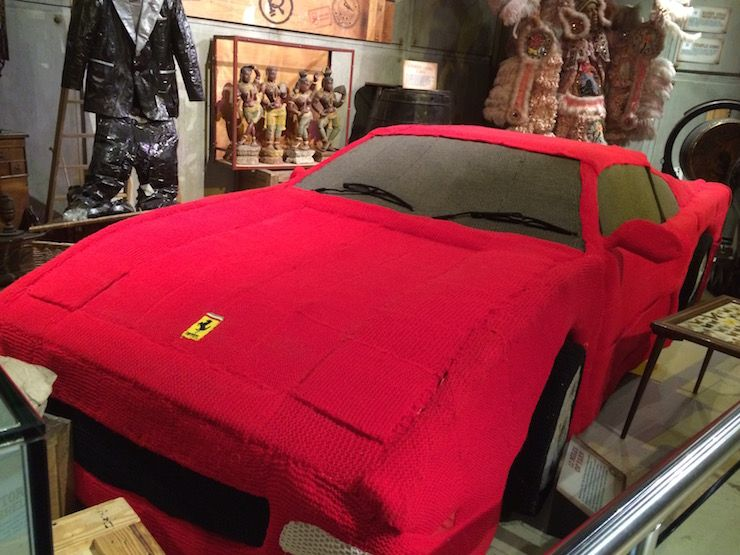 A knitted Ferrari at Ripley's Believe It or Not in London.