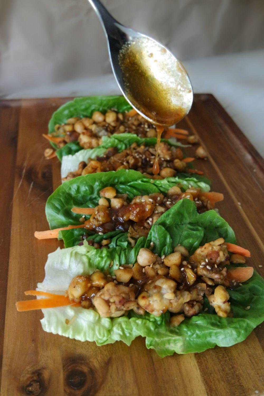 Asian Inspired Vegetarian Lettuce Wraps With Honey Garlic Glaze Happyhealthyrd