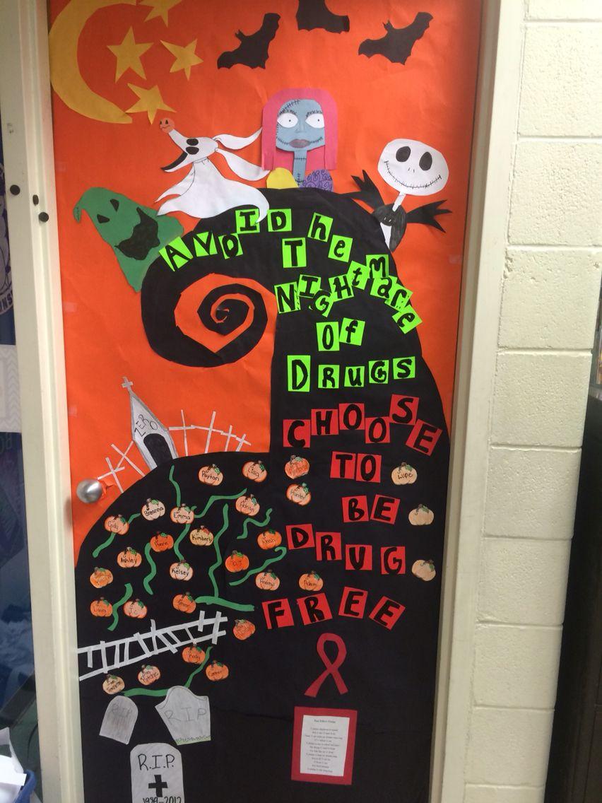 Nightmare Before Christmas Red Ribbon Week Door. \